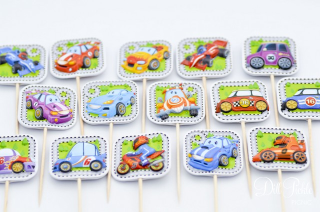 Race Car Cupcake Toppers by Dill Pickle Picnic